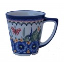 Polish Pottery STRAWBERRY BUTTERFLY 13-oz Latte Stoneware Mug | UNIKAT