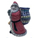 "Polish Pottery Vena JOANN 8"" Stoneware Santa with Bag 