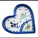 Polish Pottery SNOWMAN UNIKAT Stoneware Heart Plate (SM) | A-UNIKAT