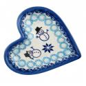 Polish Pottery CLASSIC SNOWMAN Stoneware Heart Plate (SM) | CLASSIC