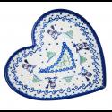 Polish Pottery SNOWMAN UNIKAT Stoneware Heart Plate (LG)   A-UNIKAT