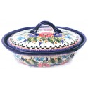Polish Pottery BUTTERFLY MERRY MAKING 1.5-Liter Covered Stoneware Casserole | UNIKAT